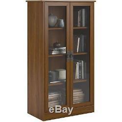 Storage Cabinet Bookshelf Glass Doors Lawyer Office Shelves Closed Display Case