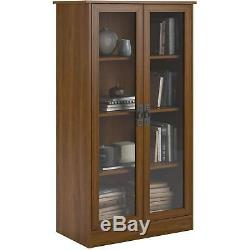 Storage Cabinet Glass Doors Office Bookshelf Lawyer Shelves Closed Display Case