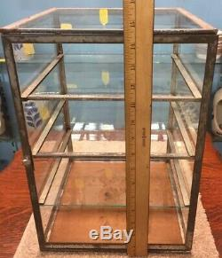 TIN & GLASS FULL VIEW STORE COUNTER TOP PIE/DISPLAY CASE WithTHREE GLASS SHELVES
