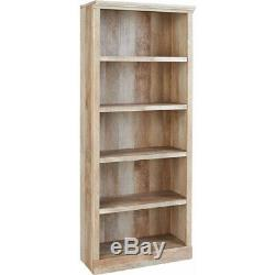Tall Book Shelf Case Home Office Storage Weathered Wood Furniture Display 5-Tier
