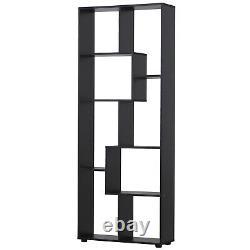 Tall Modern Bookshelf Modern Display Cabinet Storage Shelves Room Divider Black