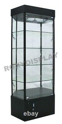 Tower LED Black Display Showcase Store Fixture Assembled WithLights #SC-WL35BK