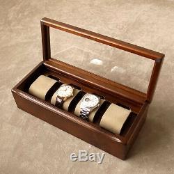 Toyooka Craft Wooden Alder Watch Case Box Display 4 Slot Storage sc114 From JP