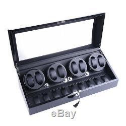 US Black Leather 8+9 Automatic Rotation Watch Winder Storage Display Case Box