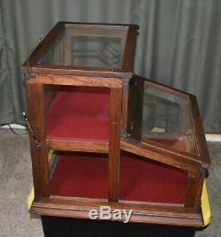 Unique Antique Oak & Glass Display Case, Store Counter Top Showcase Mercantile