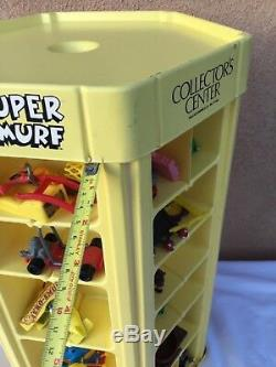 Vintage 1980s Smurf Collector's Center toy store display case 1983 with figures