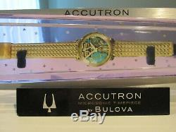 Vintage Accutron Watch by Bulova Aluminum Tuning Fork Lucite Case Store Display