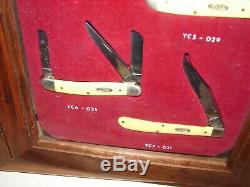 Vintage Case XX Knife Wood Store Display Case withseven knives Mini Trapper Peanut