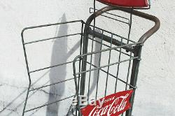 Vintage Coca Cola Bottle Store Display Stand Rack Case Delivery Hand Truck Dolly