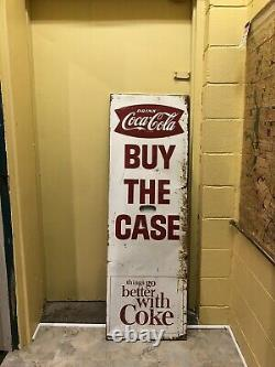 Vintage Coca-Cola Steel Store Display BUY THE CASE Sign