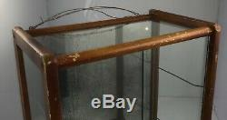 Vintage General Store 12.875 wide Glass Display Case Counter Top Wood, Mirror