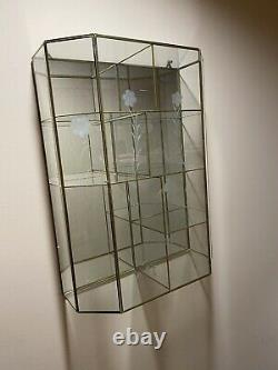Vintage Glass and Brass Curio Display Cabinet Wall MCM Storage Wall 19.5x 14.5