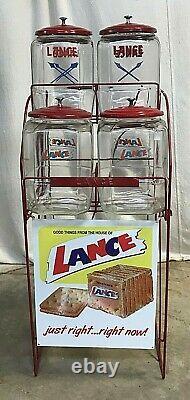 Vintage Lance Cracker General / Country Store Display With 4 Jars