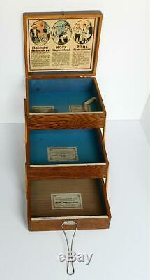Vintage Oak Accordion Harmonica Merchant Store Display Case Hohner Hotz & Pohl