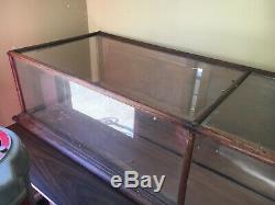 Vintage Oak Showcase Store Counter Glass Display Case
