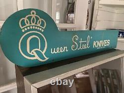Vintage Queen Steel Knives Hardware Store Display Case with Advertising Sign