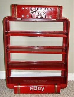 Vintage Red Metal Original Kellogg's Cereals Store Display Retro Case
