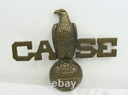 Vintage Solid Brass Original J. I. Case Threshing Tractor Store Display Sign