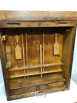 Vintage Stanley Wood Roll Top Store Display Tool Case