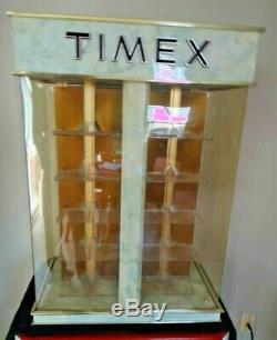 Vintage TIMEX WRIST WATCH ADVERTISING STORE DISPLAY CASE LIGHTS ROTATES KEY RARE