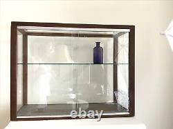 Vintage Wood Glass Tabletop Display Case Cabinet Showcase Doll Store Model Ship