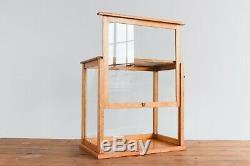 Vintage Wooden Ex-Museum Glazed Storage Box Display Cabinet / Case
