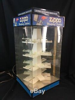 Vintage Zippo Lighter COUNTER TOP STORE DISPLAY CASE Lighted & Rotating
