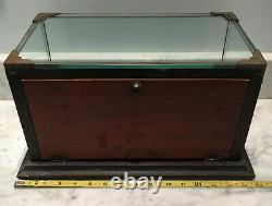 Vtg Durham Duplex Razor Store Counter Top Display Wood Glass Show Case Cabinet
