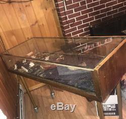 Vtg General Store Counter DISPLAY CABINET Show Case OAK VITRINE Glass 36long