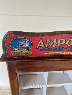 W6 Vintage AMPOLLINA Dye Display Showcase Old Country Store Counter