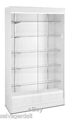 Wall Case Knockdown Glass Trophy Showcase Store Display White 48Wx18Dx78 New