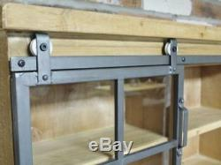 Wall Mounted Display Cupboard Industrial Style Storage Unit Shelving Cabinet New