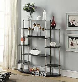 Wall Unit Book Shelf Rack Shelves Case Stereo Stand Open Display Storage Black