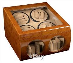 Walnut Wood Dual Double Quad 8+4 Automatic Watch Winder Display Storage Case Box