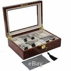Watch Display Box Jewelry Storage Organizer Holder Case 10 Watches Burlwood Fini