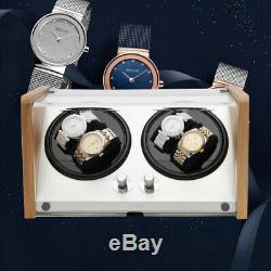 Watch Winder Box Automatic Rotating Storage 4 Watch Display Box Luxury Case US