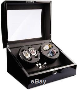 Watch Winder-Display-Storage Case Auto-wind Watches Wood High Gloss Black Case