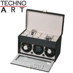 Watch Winder for 3 Watches Black Carbon Fiber Pattern Display Case + 12 Storages