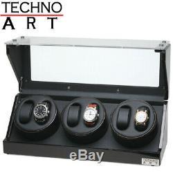 Watch Winder for 6 Watches Ebony Wood Finish Display Box Case Storage NEW