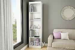 White 5 Shelf Corner Book Case Tall Display Wood Rack Home Office File Storage