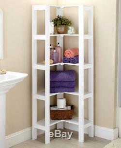 White L-shaped Corner Shelving Unit Display Case Storage Shelf Home Decor