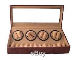 Wood Dual Double Quad Automatic Watch Winder Burl Display Storage Case Box 8+12