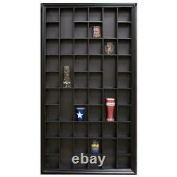 Wood Shot Glass Case Wall Decorative Shelf Display Storage Cabinet Indoor Black