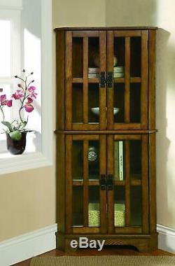 Wooden Corner Curio Cabinet Glass Doors Display Shelves Storage Case 4 Shelf