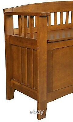 Wooden Gun Storage Bench Locking Cabinet Hidden Concealment Compartment
