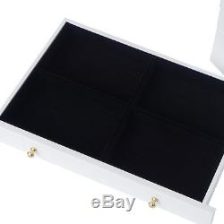 Wooden Jewellery Box white wood storage display case ring jewelry organizers