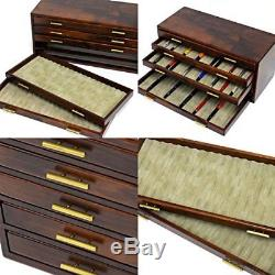 Wooden Stationery Fountain Pen Case Display 100Slot Collection Storage JAPAN F/S