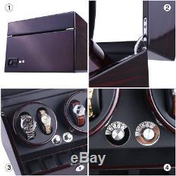 XTELARY Automatic Rotation 4+6 Watch Winder Storage Case Display Box Black USA