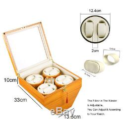 Xtelary 4+8 Leather Watch Winder Storage Display Case Box Automatic Rotation