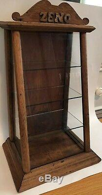 ZENO CHEWING GUM MFG Antique Primitive Oak Countertop Country Store Display Case